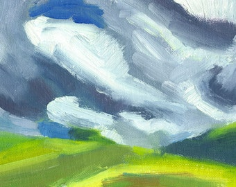 original landscape oil painting on canvas small Advancing Clouds