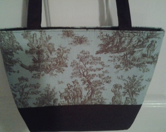 Turquoise Brown Toile Bag Purse