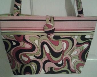 Hot Pink Green Black Pink Swirls Bag Purse