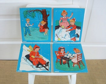 Vintage Puzzles Set Blue Child Doepke Retro Boy Girl
