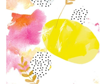 A Yellow Eggy Abstract... Art Print/Giclee Print of Digital Abstract Illustration (8.5 x 11 inches).