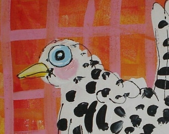 "Cute Chicken Original Painting Made to Order YelliKelli 12"" square canvas"