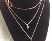 Rose Gold Necklaces, Layered Rose Gold Heart, Infinity Symbol and Pearl Necklace