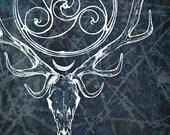 Stag Lord - WINTER ISA Herne Cernunnos Celtic Spiral God Dark White Sparkle Snow Frozen Ice