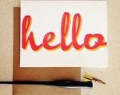 hello letterpress card