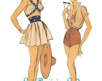 Repro Vintage Pattern Playsuit/Swimsuit 50s No 3 on Printable PDF B34