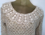 Lace Collar Sweater, Prairie Style Vintage, Country Sweater, Soft Wool Sweater, Sparkly Sequins, Doily Collar, Boho Christmas Sweater, Beige