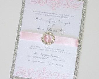 Glitter Wedding Invitation - Elegant Wedding Invitation - Vintage Wedding Invitation, Blush Pink Silver Glitter - Thalia Sample