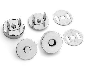"10 Sets Magnetic Purse Snaps - Closures 18mm 3/4"" Nickel - Free Shipping (MAGNET SNAP MAG-116)"