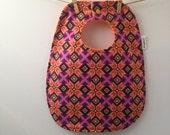 Purple and Orange Aztec Print Baby Bib - Oversize Baby Bib with Snaps