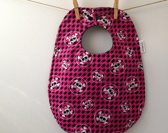 Pink Skulls Baby Bib - Oversize Baby Bib with Snaps