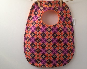 Purple and Orange Aztec Print Baby Bib - Oversize Baby Bib with Snaps