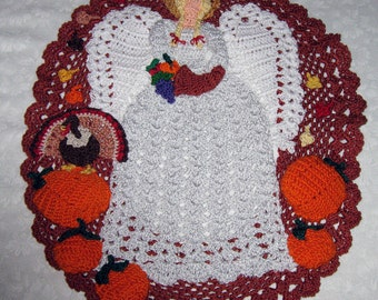Crochet Cotton Doily, Thanksgiving Angel, pumpkins, leaves, turkey