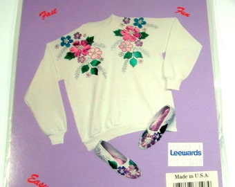 Glizy Shirts Iron On Applique Kit, Embellishment, Fabric Decoration, Crafts, Spring Bouquet S77107, Flower Die Cuts, Fuschia, Green, NOS
