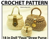 """18 in Doll Crochet """"Faux"""" Straw Purse with Hinged Lid  Pattern"""