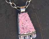 cobalto calcite druzy and sterling silver metalwork pendant necklace