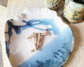 Rustic Stoneware Plate, Primitive Pottery Plate, Crude Tableware, wabi sabi Pinchpot,White Blue