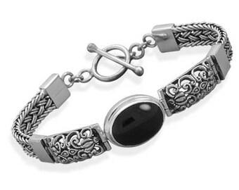 Bali Bracelet, Womens Toggle Bracelet, Black Onyx Gift Bracelet, Birthday Gift, Ornate Handmade Bali Style Toggle Bracelet with Black Onyx