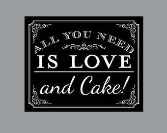 DIY Printable Cake Sign - Vintage Antique Victorian Cottage Chic Rustic Chalkboard Wedding Reception Cake Sign