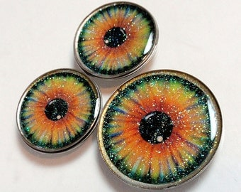 Set of 3 Sparkly Eyeballs Irises or Sunflowers Photo Art Resin And Vintge Watch Back Cabochons Jewelry Making Phone Case Decoden A2