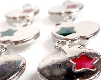 Stained Glass Star Apple Charms Pendants Lot Silver Tone A3