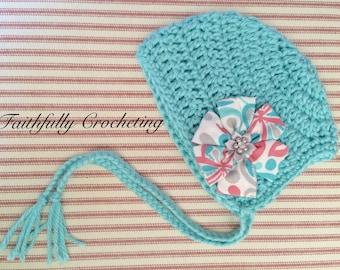 Newborn bonnet... Flower hair clip.. Ready to ship