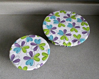 Reusable Set of Fabric Bowl Covers-2.5 L and 1 L---White with Blue, Green and Purple Flowers; eco-friendly, cotton fabrics, washable