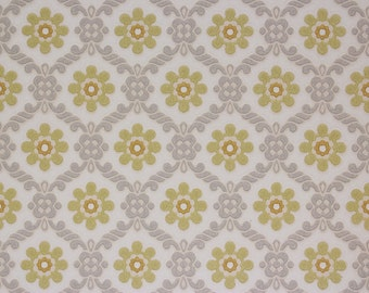 1950's Vintage Wallpaper Yellow and Gray Floral Geometric--Made in West Germany