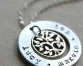 FREE SHIPPING. Sterling Silver Handstamped Personalized Family Tree Charm and Washer Necklace with Stamped Name. Mother Grandmother Necklace