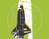 Rocket Ship Wall Art, space nursery 13 x 19 room decor - available in different colors and sizes