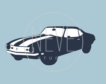 Muscle Car Art, chevy camaro 13 x 19 art print - different colors and sizes available