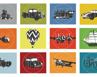 Childrens art, Transportation room decorations, set of 6, 5 x 7 prints - you choose the vehicles and colors
