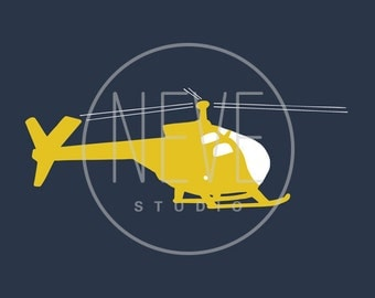 Boy art, helicopter art 13 x 19 print by nevedobson - different sizes and colors available