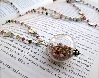 Long Tourmaline Gemstone Sterling Silver Necklace - Long Gemstone Necklace - Real Heather Flowers - Opera Length Necklace - READY TO SHIP