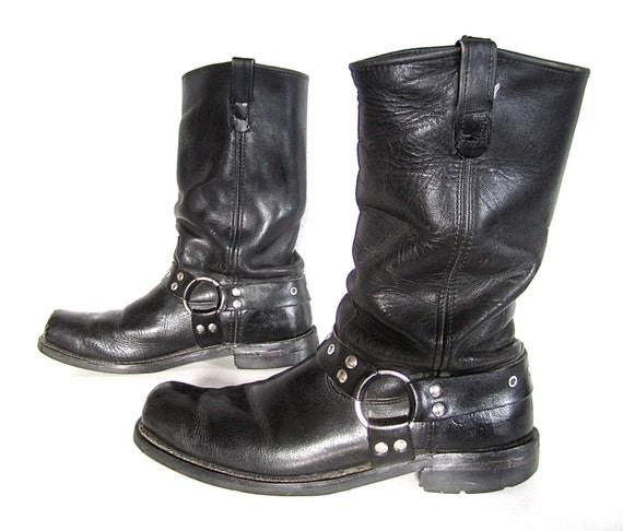 vintage 1980s black leather harness boots mens 12 biker buckle