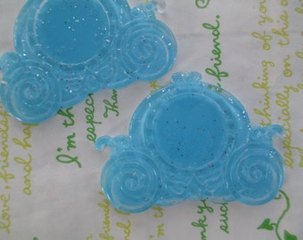Glitter Carriage setting frame 2pcs Clear Blue 63mm x 46mm  (Fits round 25mm Cameo) NEW item