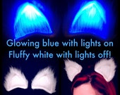 Clip On Cat Ears Fluffy Glowing Blue LED Cosplay Rave Wear Accessory, EDC Light Up Costume My Little Pony Geek Hair Clip