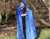 Made to Order Crushed Panne Velvet Hooded Cape - Pagan Wizard Witch Ren Faire Costume