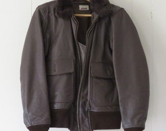 Navy Flier Bomber Jacket Size 40 Type G-11 Lined Brown Leather