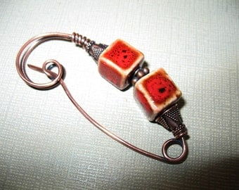 Red Square a Copper Shawl Pin, Sweater Pin, Hat Pin, Scarf Pin, Closure for Your Knits, Crochets, and Weaves