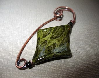 Triangulate a Copper Shawl Pin, Sweater Pin, Hat Pin, Scarf Pin, Closure for Your Knits, Crochets, and Weaves