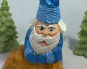 St. Nick Twist-  A  Blue-Themed Carved and Painted Santa with a Unique One-of-a Kind Hat