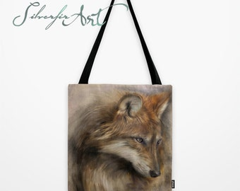 Ava... 15x15 inch Fully Printed Tote... Red Wolf Wildlife Study Sketch Art... Double-Sided Printing