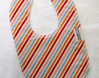 Summer Fun Stripe Drooler Bib - Snap - Non wicking fleece back - Middle layer Organic cotton