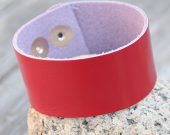 Red Leather Cuff with adjustable snaps
