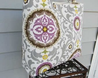 Floral Tote Bag, Every Day Bag Grey, Purple, Brown and  Natural Bridesmaids Gift Tote Bag
