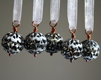 Miniature Handmade Christmas Ornaments - White Torch Fired Enamel - Ready to Ship