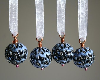Miniature Handmade Christmas Ornaments - Periwinkle Blue Enamel - Ready to Ship