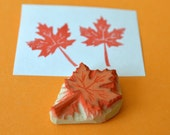 mini maple leaf hand carved rubber stamp, handmade rubber stamp