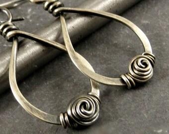 Sterling Silver Spiral Earrings, Wire Wrapped Teardrop Earrings, Eco Friendly Jewelry Gifts for Her